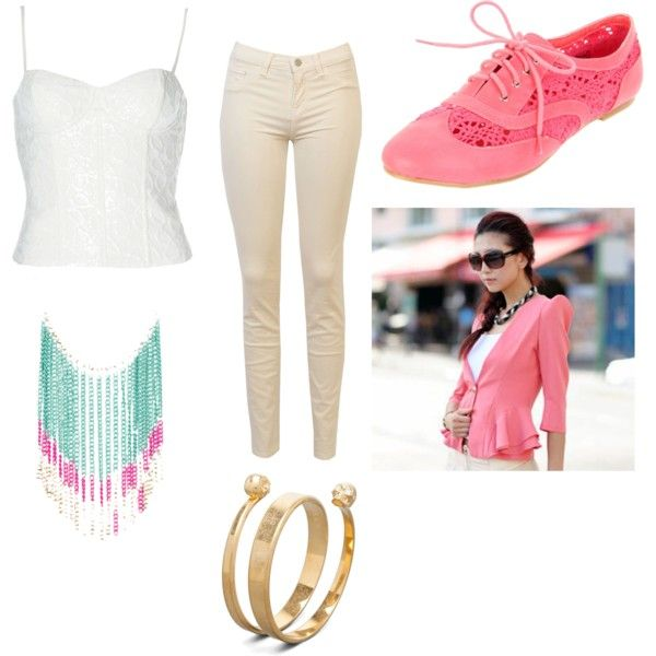 """""""Pink oxfords outfit"""" by lisaflores on Polyvore"""