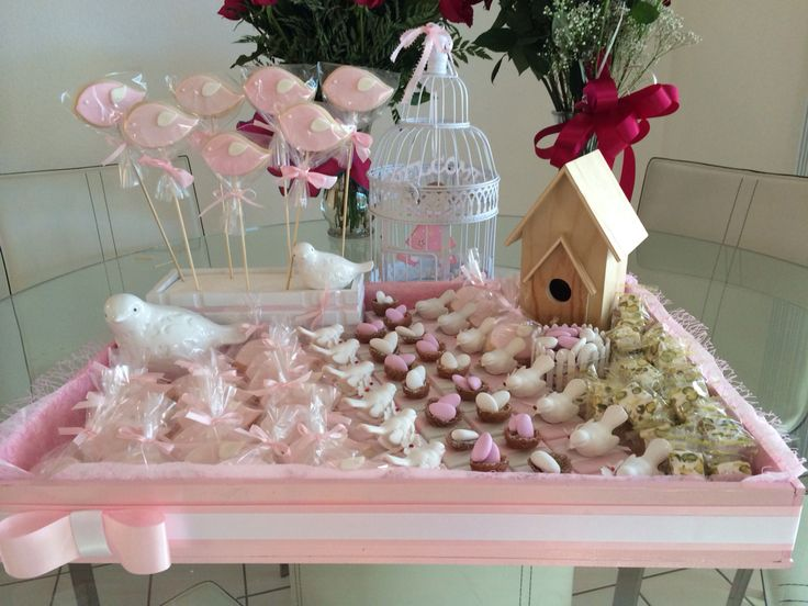Welcome Home Baby Tray Decorated With Cookies Chocolates Jordan Almonds Accented