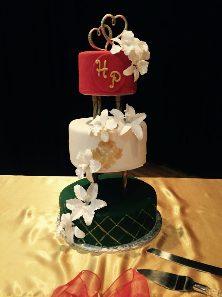 Red White And Green Eggless Indian Wedding Cake