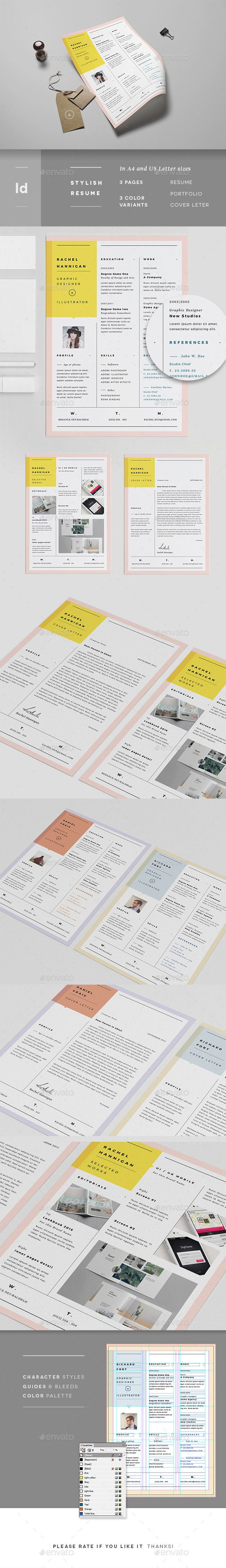 3 Pages Minimal Resume Portfolio & Letter - Resumes Stationery