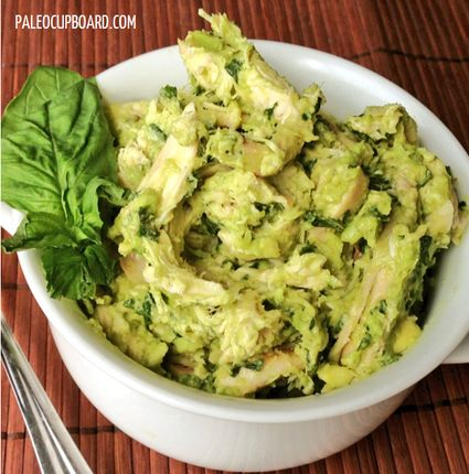 Easy Paleo Basil Avocado Chicken Salad - 2 boneless, skinless chicken breasts (cooked and shredded) - 1/2 cup fresh basil leaves, stems removed - 2 small or 1 large ripe avocado, pits and skin removed - 2 Tbsp. extra virgin olive oil - 1/2 tsp. sea salt (or more to taste) - 1/8 tsp. ground black pepper (or more to taste).