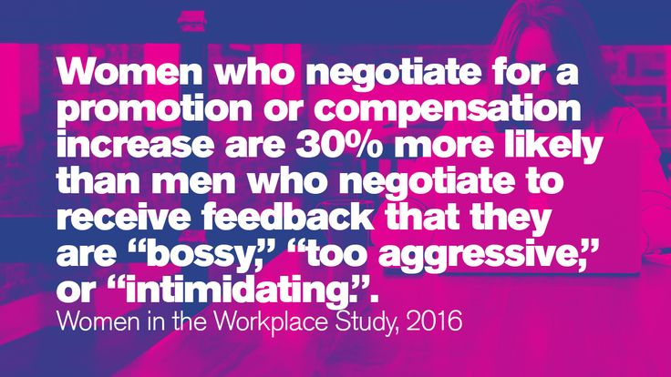 "Women who negotiate for a promotion or compensation increase are 30% more likely than men who negotiate to receive feedback that they are ""bossy,"" ""too aggressive,"" or ""intimidating.""  #IWD  #Gettingtoequal #BeBoldforChange #InternationalWomensDay #WomensHistoryMonth #ifactory  #Ifactorydigital"