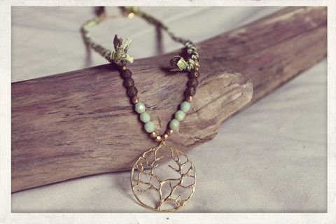 Braided Necklace with 14k gold plated Tree of Life pendant.
