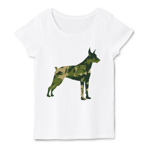 アーミードーベルマン | デザインTシャツ通販★ fooldesignのシルエット企画。ドーベルマンのシルエットTシャツの第一弾!アーミーイメージ、ミリタリー、サバイバルな感じのドーベルマンのシンプルなシルエットTシャツです。迷彩も模様の中を良く見てみると…ドーベルマン柄なのが分かります。良く見ると面白いデザインTシャツ。 #ドーベルマン #Tシャツ