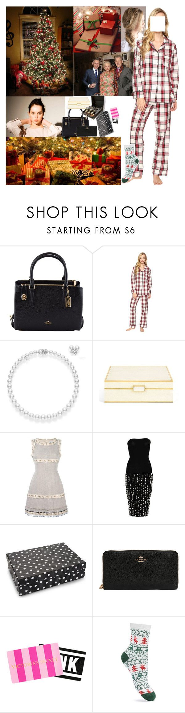 """Waking Up Christmas Morning + Exchanging Gifts with Her Family"" by elizabethwindsor ❤ liked on Polyvore featuring Coach, Bed Head by TIGI, Mikimoto, AERIN, Chanel, Dolce&Gabbana, Remington, Victoria's Secret, Miss Selfridge and vintage"
