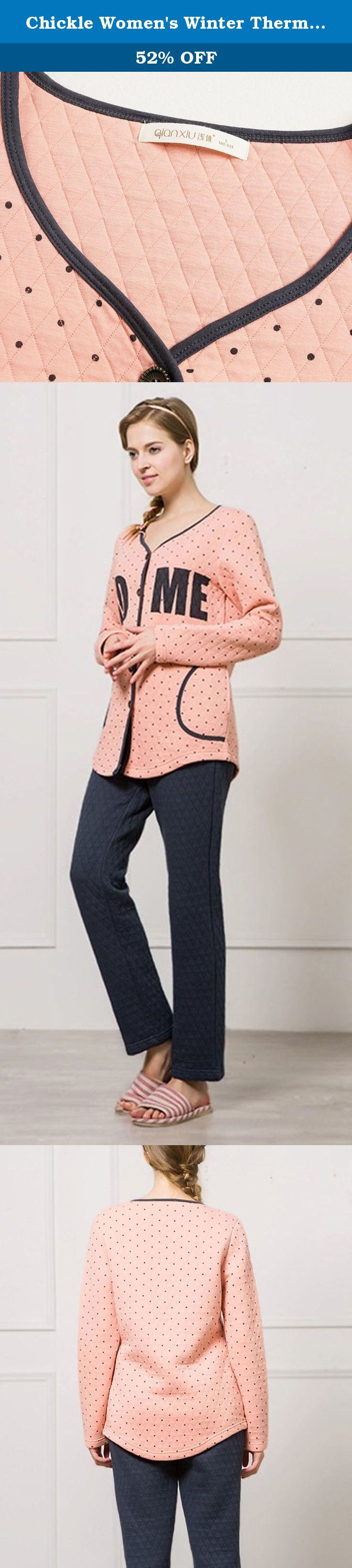Chickle Women's Winter Thermal Nightwear Home Cotton Pajama Set Pink. Cotton pajama set featuring collarless button clouse,dot pattern and wording plaid,soft warm side phone pocket,perfect for sofa wear at home.