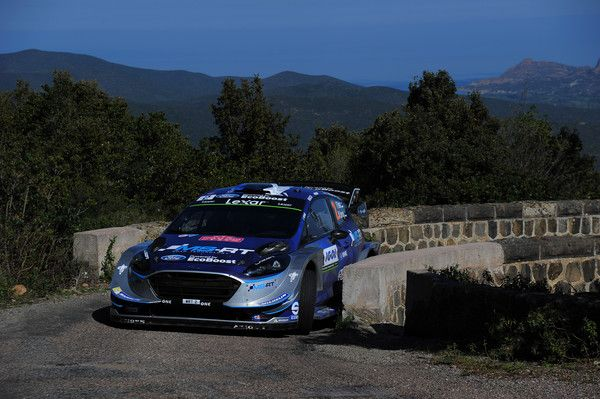 Ott Tanak of Estonia and Martin Jarveoja of Estonia compete in their M-Sport WRT Ford Fiesta WRC during Day Two of the WRC France on April 8, 2017 in Ajaccio, France.