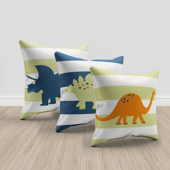 dinosaur throw pillows green orange and blue by PrintArtShoppe