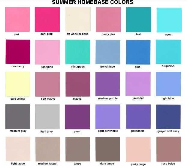 Базовые летние цвета