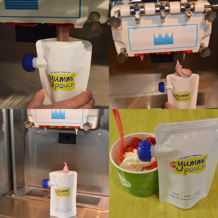 Take Yummi Pouches to the frozen yogurt shop, for an easy no-mess treat!
