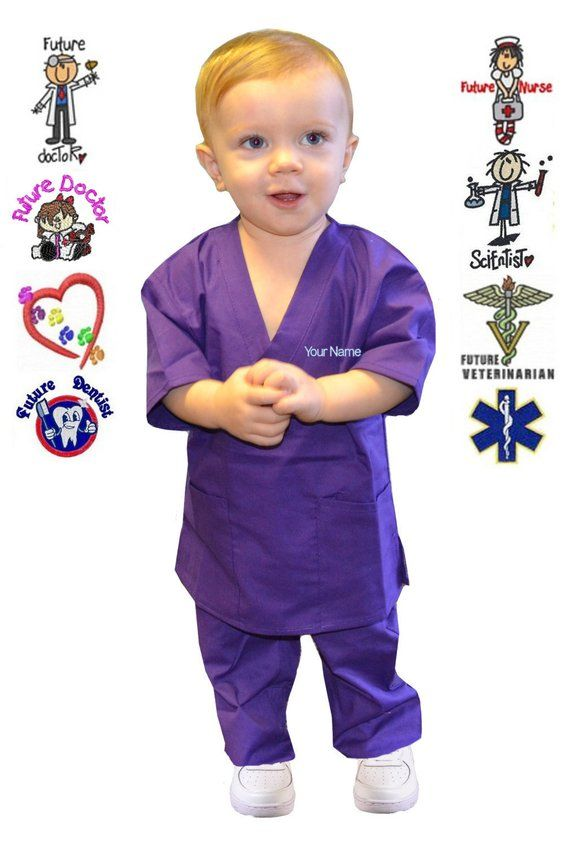 ce81ffb3c5d8 Embroidered Personalized Purple Toddler Kids Scrubs for little ...