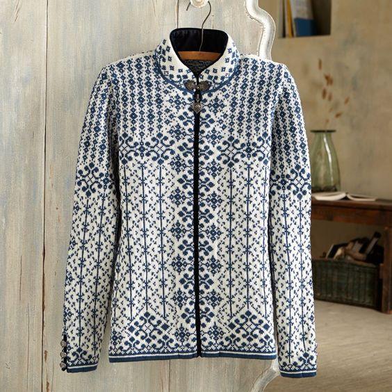 Norwegian Kara Wool Cardigan Sweater