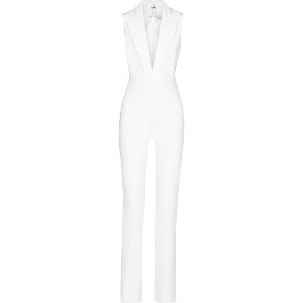 Cushnie et Ochs Stretch-woven jumpsuit ($830) ❤ liked on Polyvore featuring jumpsuits, white, white tailored jumpsuit, jump suit, stretch jumpsuit, tailored jumpsuit and white jump suit