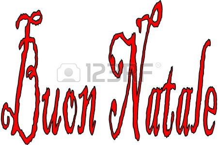 Merry Christmas writen in Italian written on a white Background