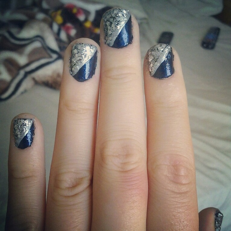Navy Blue Nails For Prom