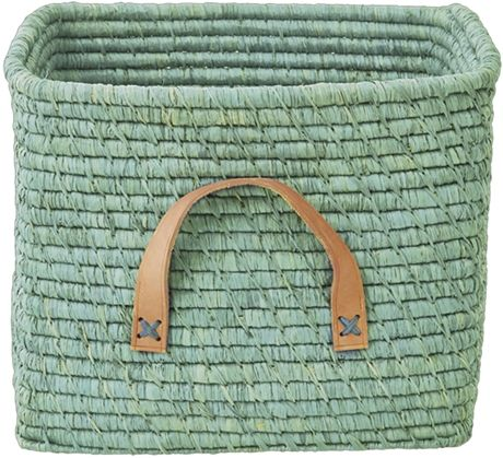 rice Förvaringskorg m Läderhandtag Grön | Barnerommet Oppbevaring | Jollyroom