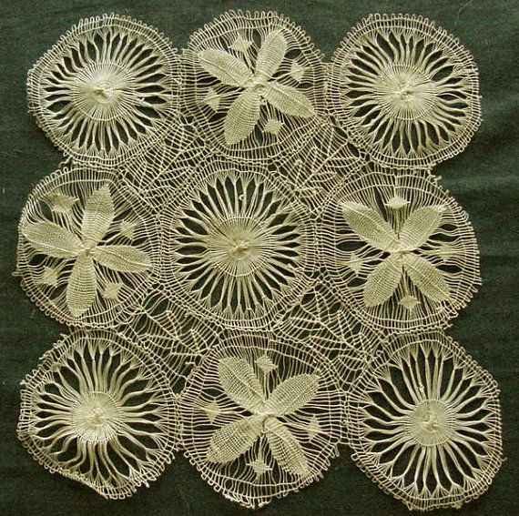 Antique Cream Fine Lace Table Doily c.1900 by chalcroft on Etsy, $9.00