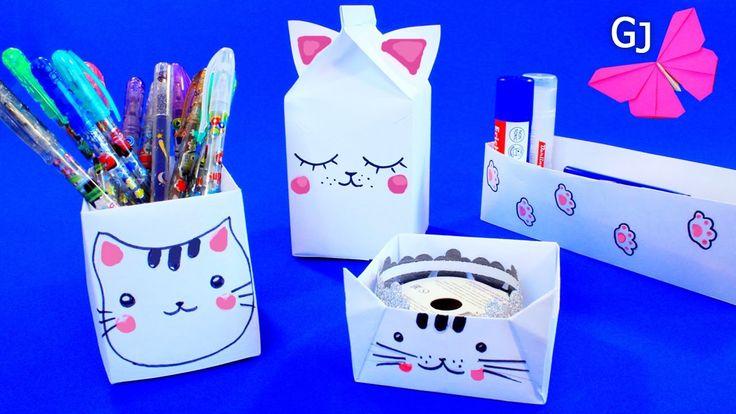 Кавайные котики - оригами коробочки
