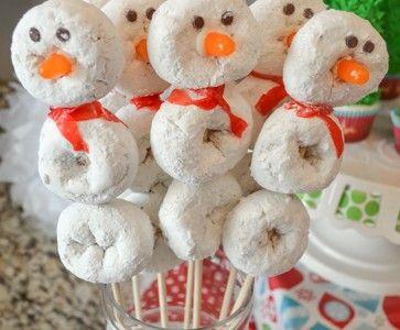 Christmas Play Date Snowmen Theme!  Snowman Donut Kabobs! http://fantabulosity.com