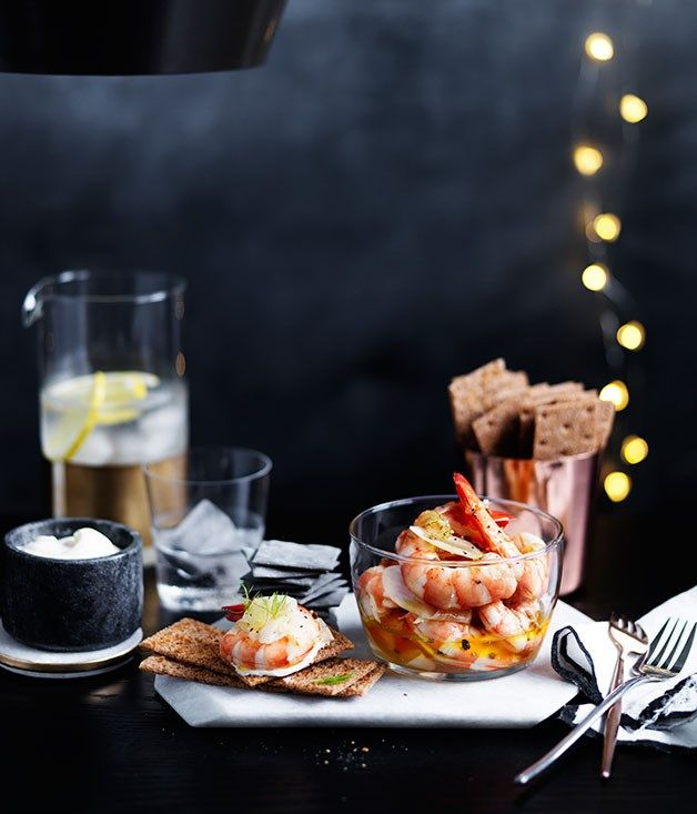 Pickled prawns and fennel with rye crackers recipe :: Gourmet Traveller