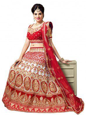 Red and White Net Lehenga Choli with Embroidery Work