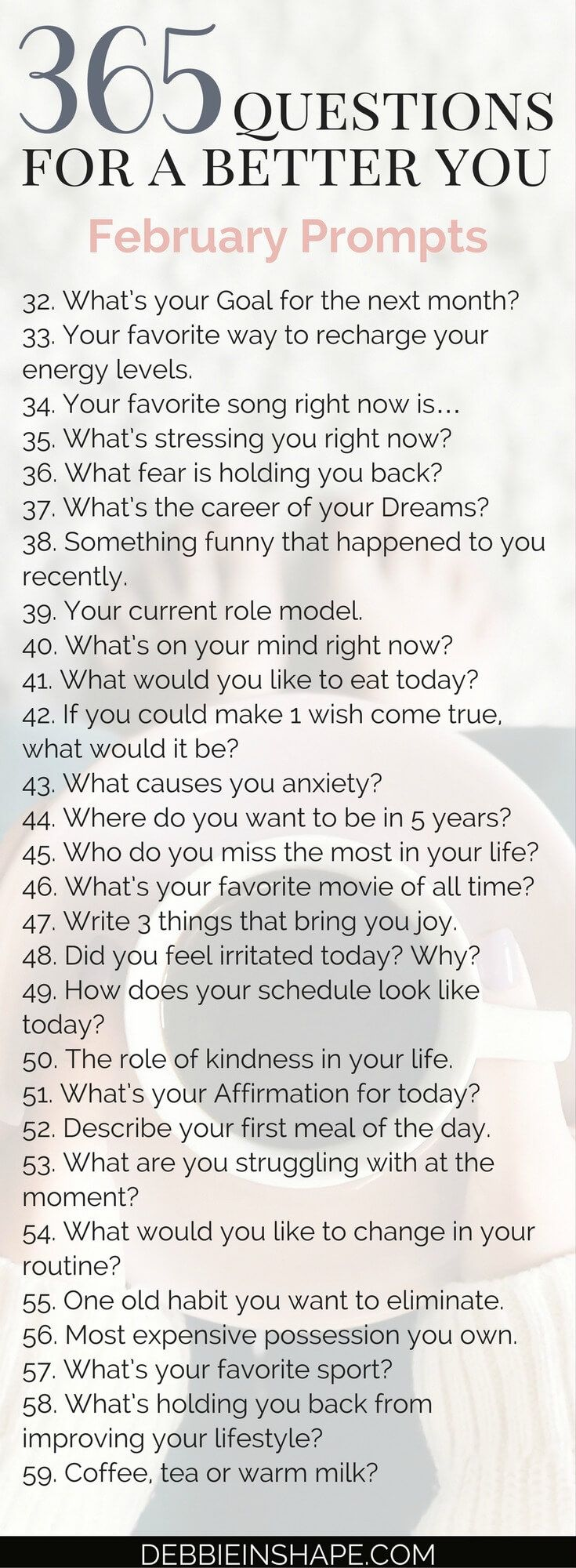 And it's already time for the 365 Questions For A Better You the February edition. Let's continue reflecting about ourselves to grow and improve.