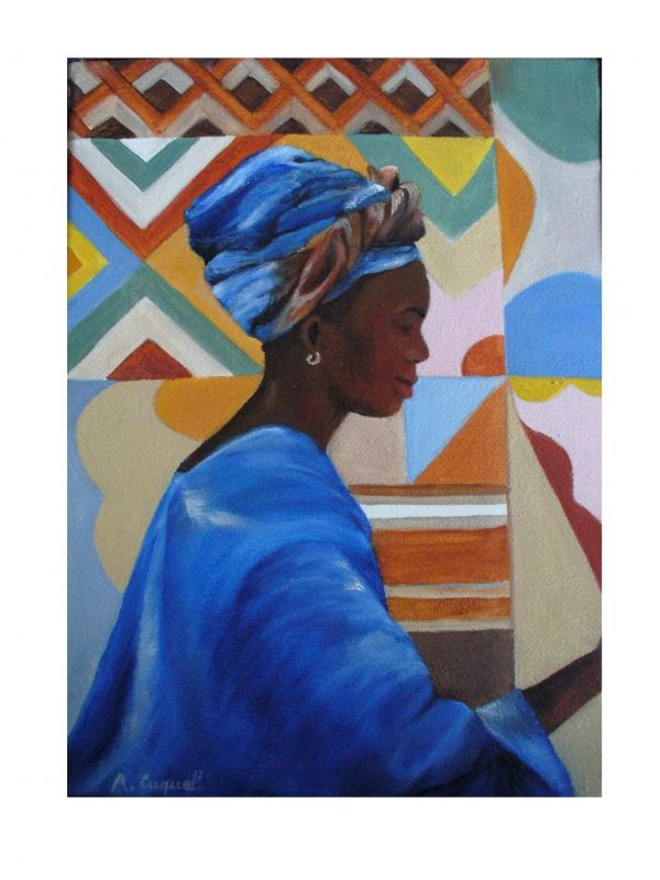 tableau peinture art afrique africaine femme voyage personnages costumes traditionnels. Black Bedroom Furniture Sets. Home Design Ideas