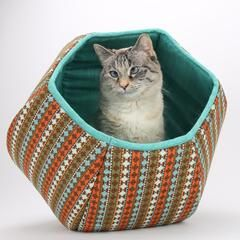 Cat Ball cat bed with Southwestern Fabric Stripes and Turquoise