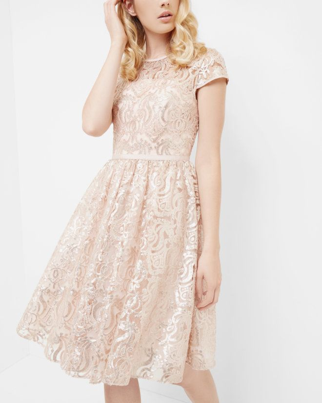 Sheer bodice sequin dress - Gold | Occasionwear | Ted Baker UK