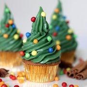 Cupcakes sapins de Noël - www.puregourmandise.com