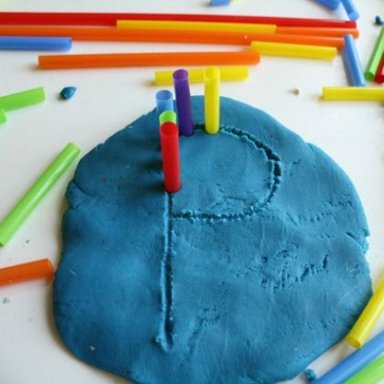 Pre-writing Fun: All you need is play dough and some straws!