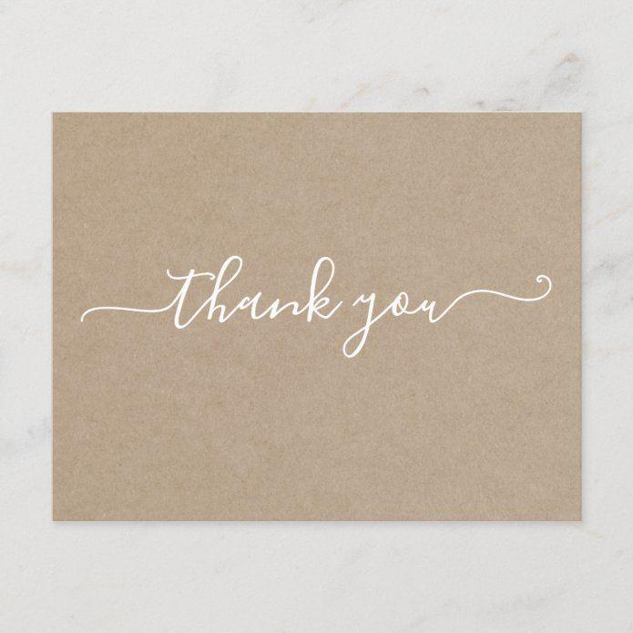 Simple Modern Minimalist Thank You Card Kraft Zazzle Com Ilustrasi Bisnis Templat Power Point Desain Pamflet
