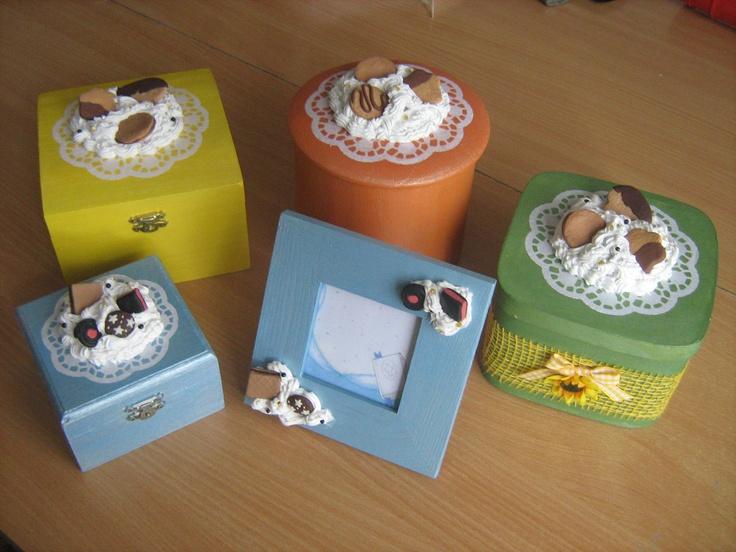 Cornice e scatole legno   decoro fimo e silicone