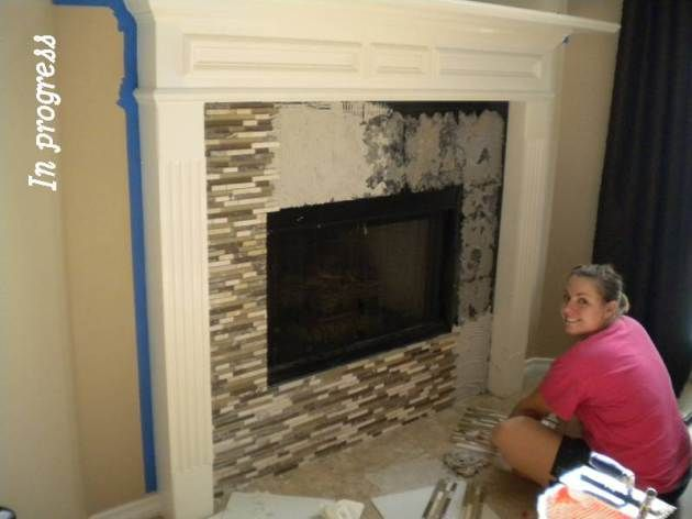 Glass tile fireplace anything to cover our ugly white - Tile over brick fireplace ...