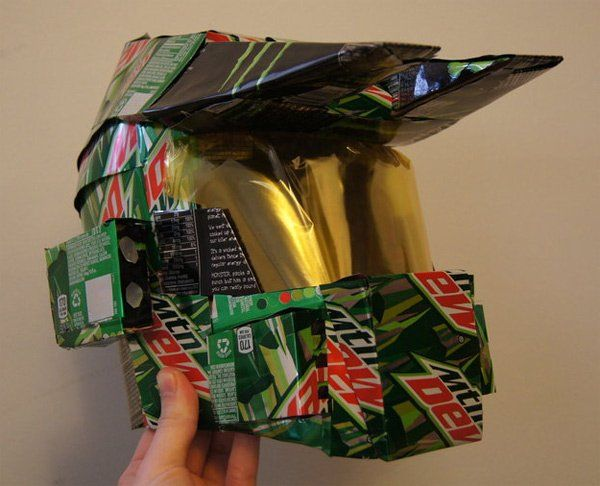 Halo Master Chief Helmet Made from Mountain Dew Cans