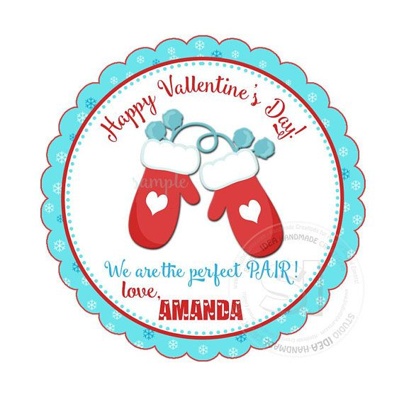 Valentine's Day Customized 2.5 Printable Tags-Mitten
