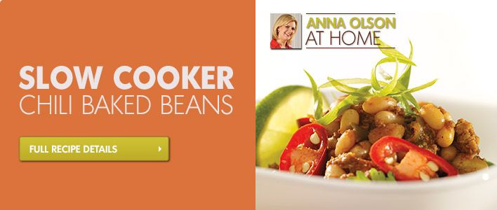 Slow Cooker Chili Baked Beans Recipe - Anna Olson  #homehardware #food #chili #slowcooker #recipes