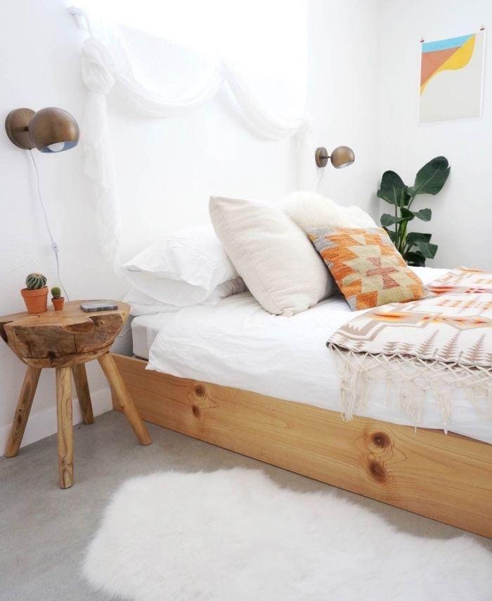 déco chambre ado de style boheme chic avec cadre de lit en bois ...
