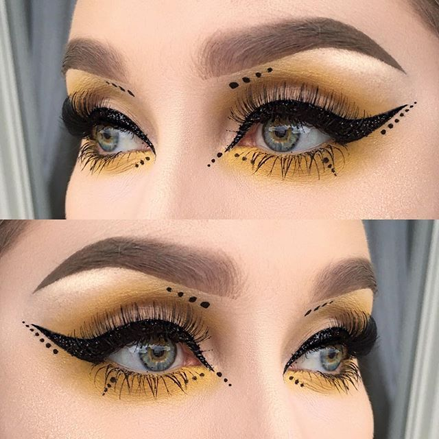Black glitter liner, yellow and dots ✨  I used @meltcosmetics eyeshadow neon from the radioactive stack | @inglot_sweden eyeliner gel 77 | @makeupstore glitter black star ( it's an old glitter and I finally found my little jar that I had like two months ago. Happiness ) | @sweedlashes falsies in @idasjostedt edition | @illamasqua highlight in OMG | @anastasiabeverlyhills dipbrow pomade in taupe ✨  #vegas_nay #wakeupandmakeup #fiercesociety #dressyourface #hudabeauty #makeupartistsworldwide…