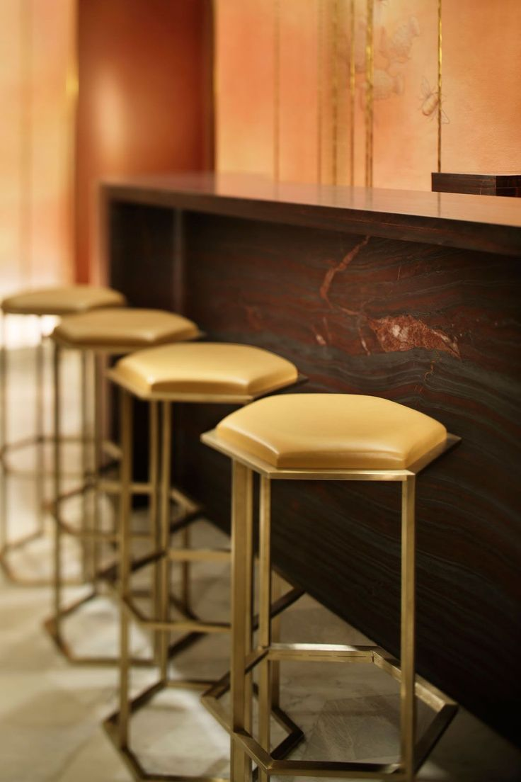 Bar stools ideas, brass and upholstery. See also: http://www.brabbu.com/en/inspiration.php