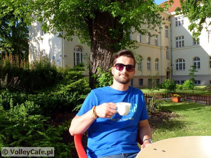 Konrad Cop and a cup of #coffee #coffeetime #volleyball