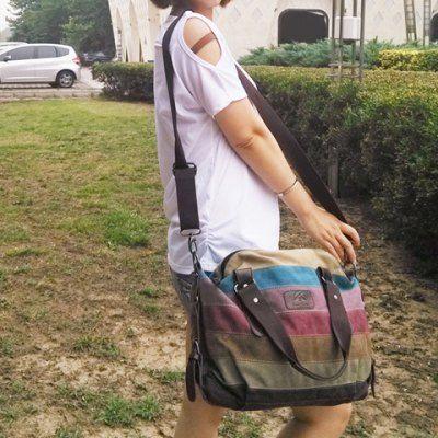 Fashion Buckle and Striped Design Women's Shoulder Bag