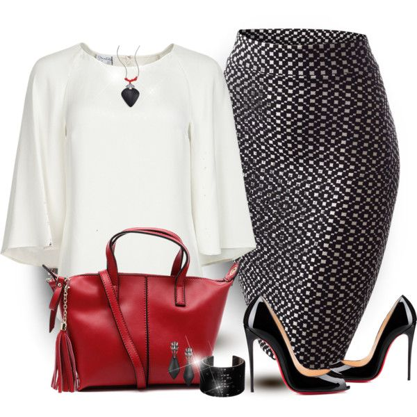 Black , White and Red Classic Combo by mharvey on Polyvore featuring moda, Oscar de la Renta, Christian Louboutin, Swarovski and Alexis Bittar