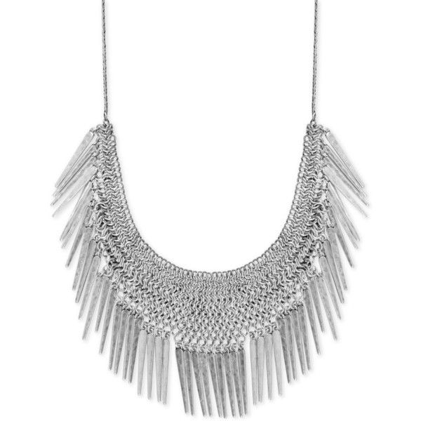 Lucky Brand Silver-Tone Fringe Statement Necklace ($75) ❤ liked on Polyvore featuring jewelry, necklaces, jewels, silver, statement necklace, fringe statement necklace, lucky brand jewellery, silvertone jewelry and jewel necklace