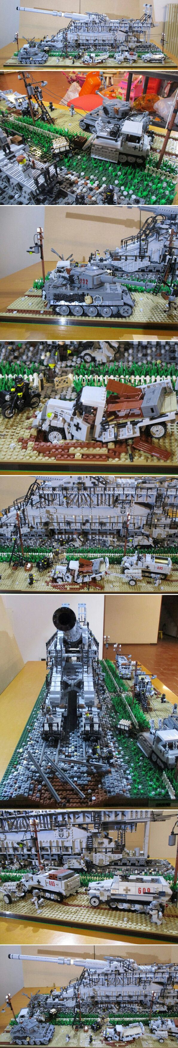 Schienengeschütz schwerer Gustav - Lego style