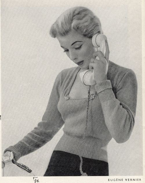 The Vintage Pattern Files: 1950's Knitting - Slim Fit Jumper with Square Neck