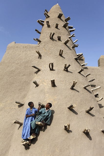 adobe mosque in Mali, Timbuktu:  I have a friend who moved to Mali.  I had no idea that was where Timbuktu was.  I always thought it was a fictional city-