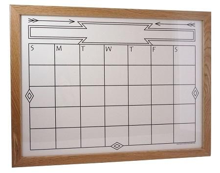 """A custom """"Southwestern"""" Dry Erase Calendar - our customer wanted a white background and black print instead of the black background with white print. Easy change!"""