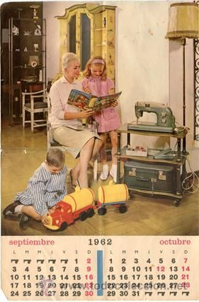 Hoja calendario *SEPTIEMBRE-OCTUBRE 1962* - De máquina coser SIGMA