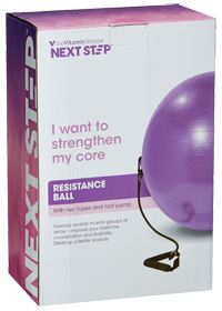 NextStep Resistance Ball With Tubes. Strengthens core and can exercise several muscle groups at once. Improves your balance, coordination and flexibility and helps develop a better posture Features includes dual resistance tubes with handles and foot pump.
